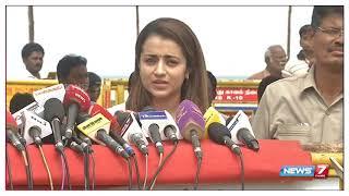 Actress Trisha pay homage to karunanidhi at marina chennai