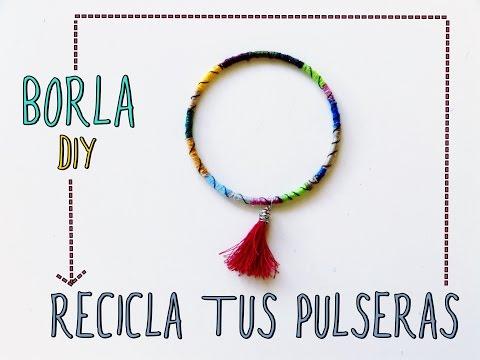 Pulseras hippie con hilo y borla |DIY| (Recicla tus accesorios en verano)