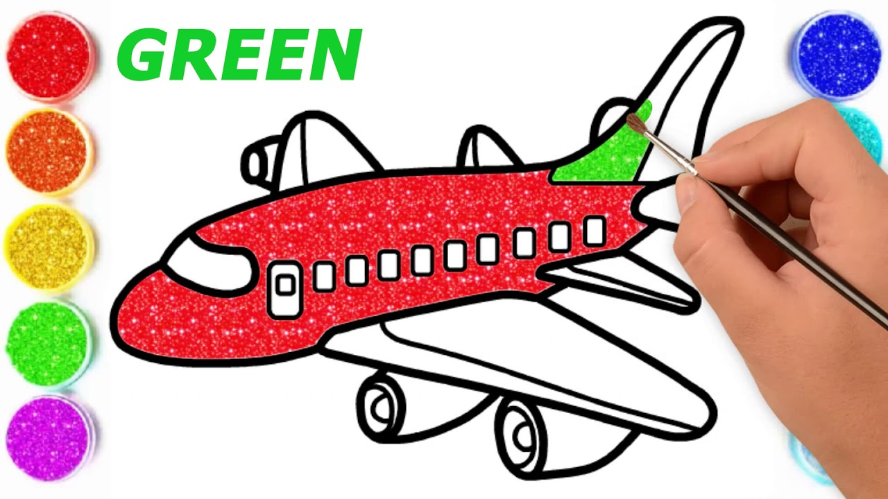 How to Draw and Color A Glitter Plane   Drawing and ...