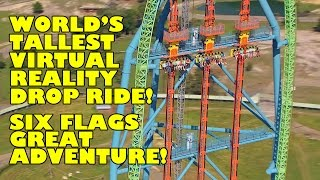 World's Tallest VR Drop Ride Free Fall POV Drop of Doom Six Flags Great Adventure