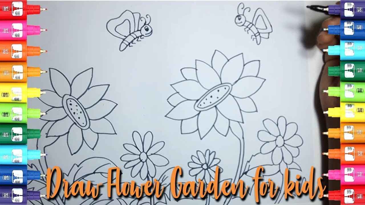 How to draw flower garden for kids-Easy Kids Drawing ...