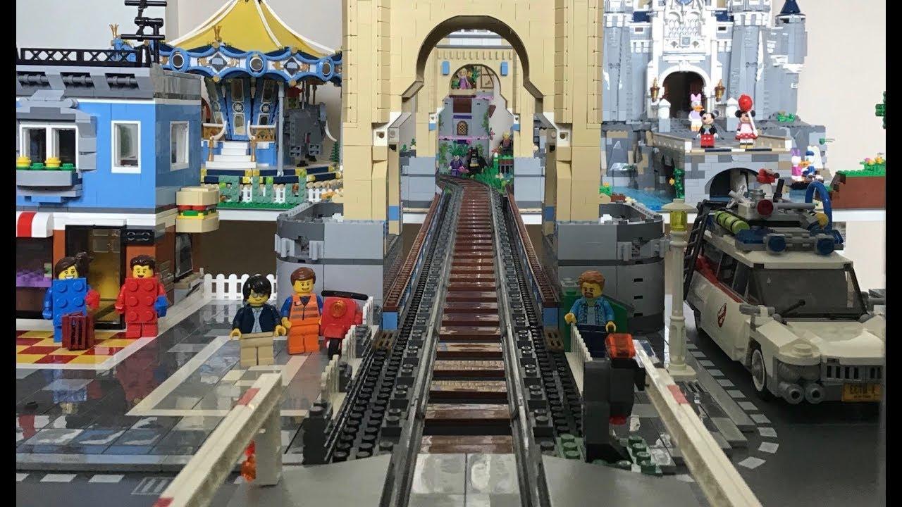 Lego Train Bridge Moc Custom 10214 Big London Tower Train Bridge Video Youtube