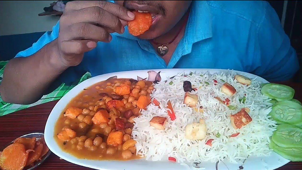 Massive Spicy Chole Chawal With fry Paneer  eating show  Mukbang