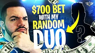 $700 BET WITH MY RANDOM DUO?! HE WAS IN SHOCK! (Fortnite: Battle Royale)