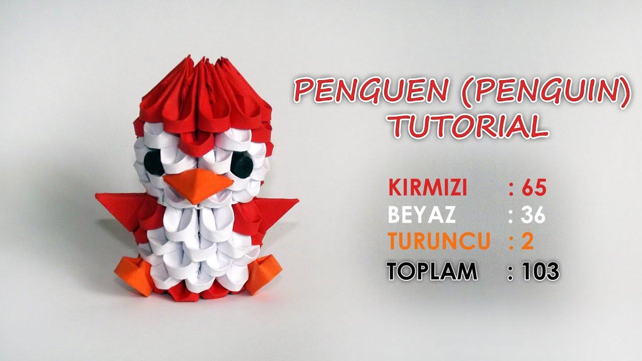 3d Origami Penguen Yapm Penguin Tutorial Youtube