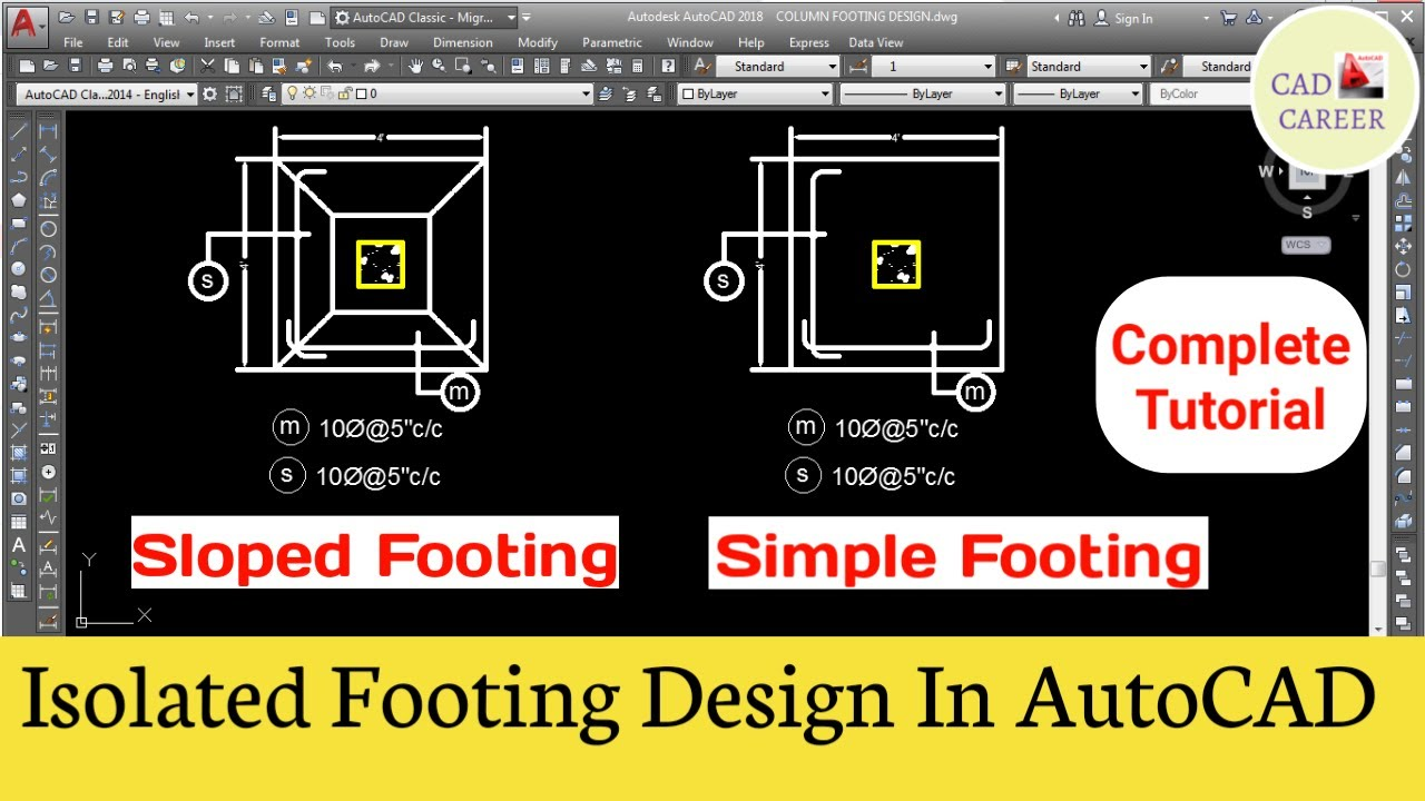 How to draw Isolated footing in AutoCAD | Square footing design in AutoCAD  | CAD CAREER