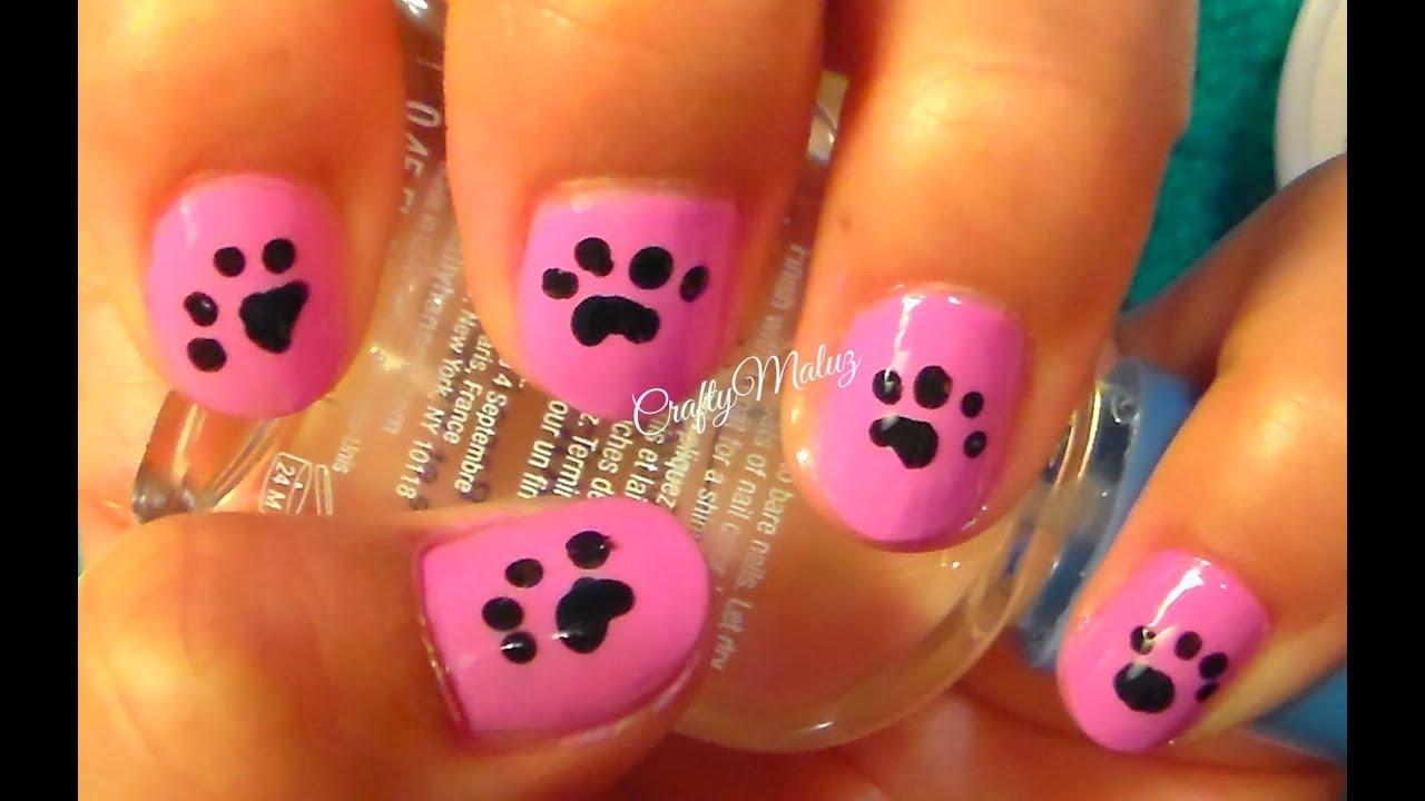 Como hacer un diseño de uñas huellas de perrito - YouTube