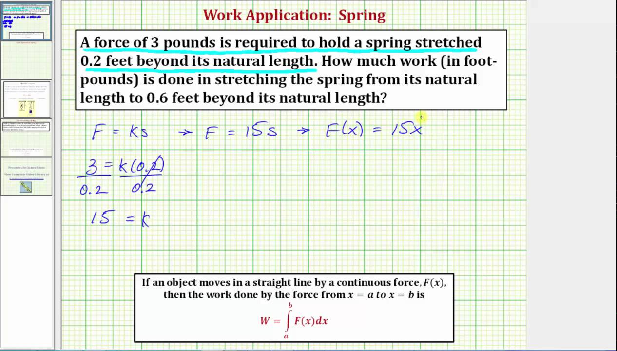 Ex: Find the Work Required to Stretch a Spring (Integration App)