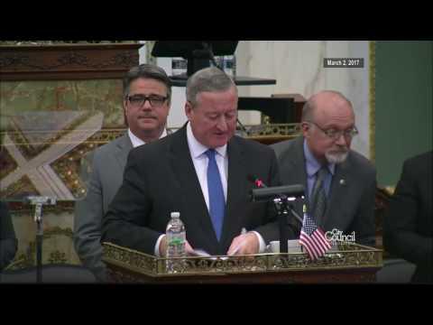 Mayor James Kenney's FY2018 Budget Address to Philadelphia City Council 3-2-2017