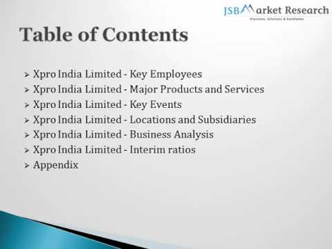 Company Profile of Xpro India: JSBMarketResearch