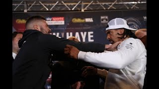 HEAVYWEIGHT BEEF!! TONY BELLEW v DAVID HAYE - SEPARATED BY SECURITY AS THEY TRY TO EXCHANGE BLOWS