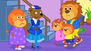 Lion Family Mary Poppins Saves Daddy Lion Cartoon For Kids