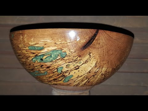 Spalted Oak Bowl with Green Epoxy Filled Bug Holes