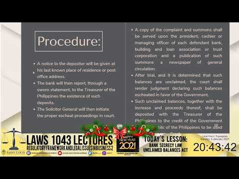 LAWS 1043 - Bank Secrecy Law, Unclaimed Balances Act