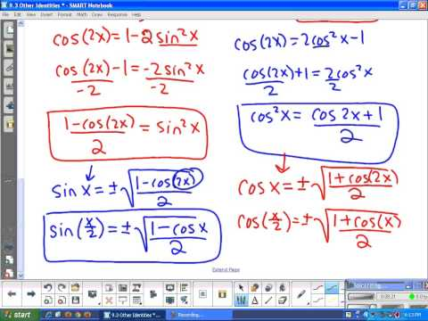 9.3 Other Identities Deriving(double angle, power reducing, and half angle identities) and notes