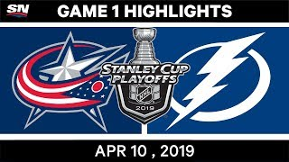 NHL Highlights Columbus Blue Jackets vs Tampa Bay Lightning, Game 1 - April 10, 2019