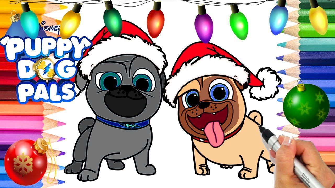 Puppy Dog Pals Christmas Coloring Page Rolly And Bingo Disney Jr