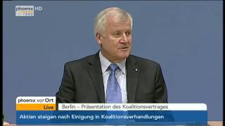 Koalitionsvertrag - BPK mit Merkel, Gabriel & Seehofer am 27.11.2013