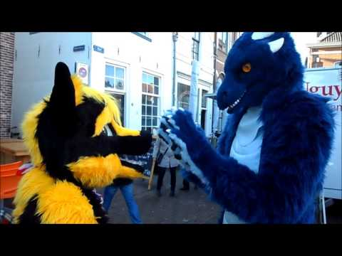 Fursuit walk in inner city Amersfoort (Netherlands)