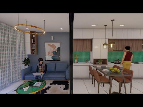 Mẫu thiết kế căn hộ chung cư 40m2 có 2 phòng ngủ