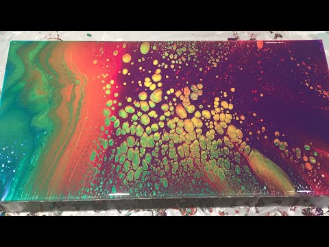 (18) Acrylic Pour - Rainbow Gradient Dirty Pour with Cells - No Silicone!