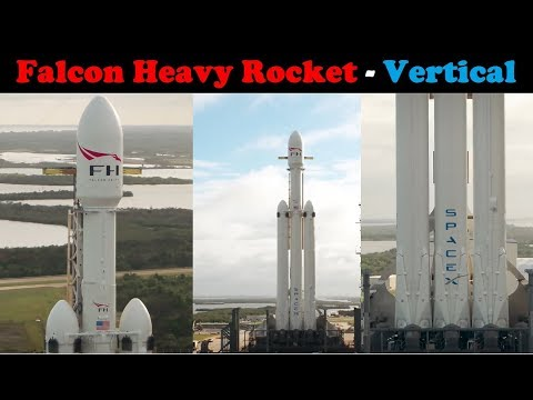 Falcon Heavy - Drone Footage (Vertical on launch pad 39A)