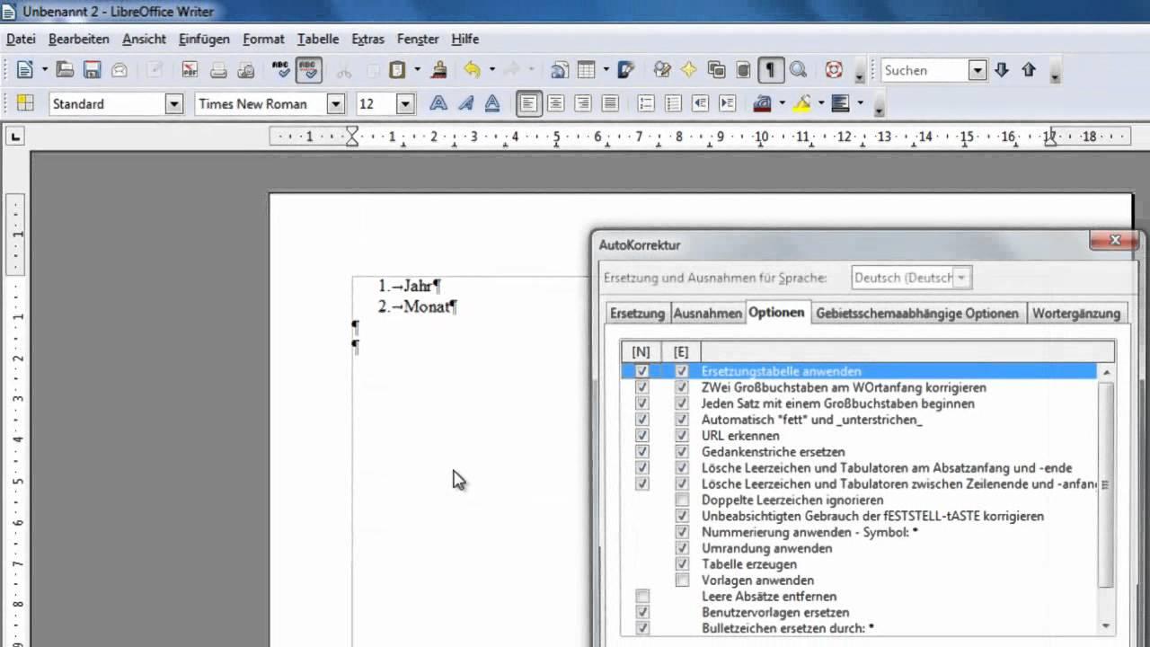 LibreOffice und OpenOffice Writer - Automatische Nummerierung ...