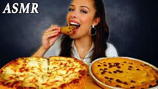 ASMR MUKBANG Pizza Hut Cheesy Pizza & Ultimate Chocolate Chip Cookie!