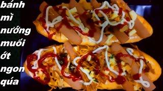 món ăn ngon_ cách làm bánh mì nướng muối ớt bằng chảo siêu ngon