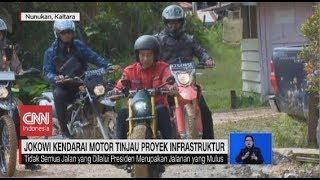 Momen Presiden Jokowi Kendarai Motor Tinjau Proyek Infrastruktur