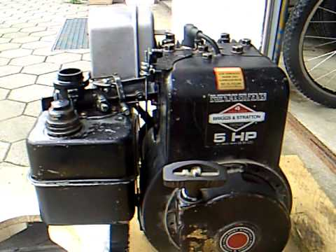 Briggs stratton 5 hp generator engine start up youtube for Briggs and stratton 5hp motor