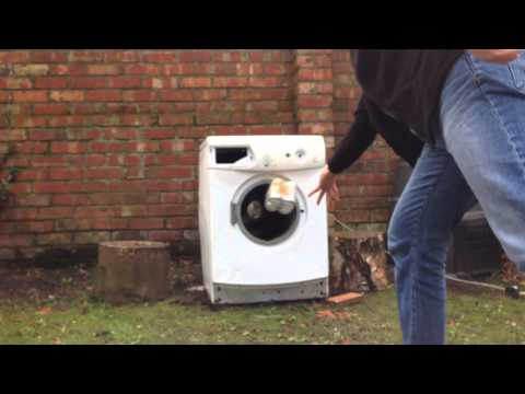 Cans of pop and bricks in a washing machine
