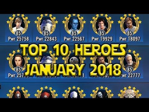 Top 10 Best Heroes January 2018 | Star Wars: Galaxy Of Heroes - SWGoH