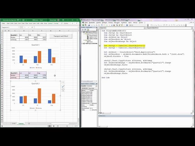164. Excel-VBA: Excel-Diagramme an bestimmten Stellen in ein Word-Dokument einfügen