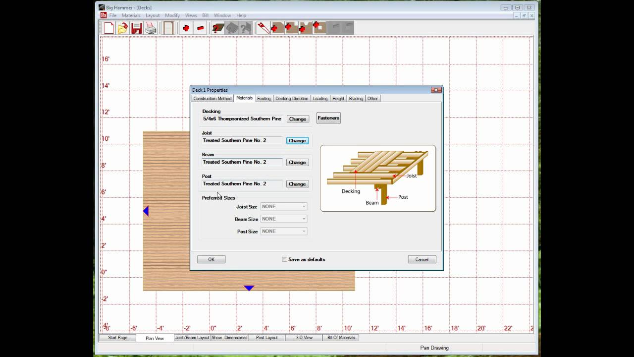 Big hammer deck design software demo youtube for Deck planning software