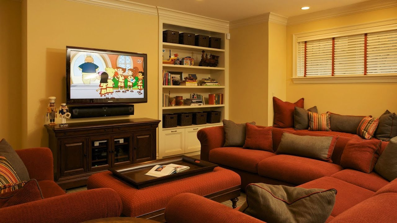 Arrange furniture around fireplace tv interior design for Tv room sofa