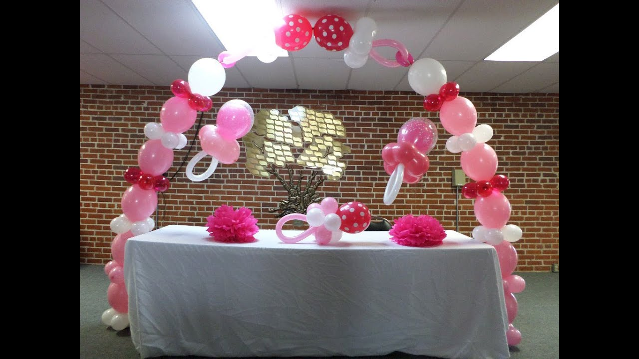 How to - Pink and White Baby Shower Link-O-Loon Balloon Pacifier ...