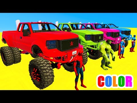 Thumbnail: COLOR MCQUEEN Monster Truck in Spiderman Cars cartoon for babies with 3D Superheroes for kids!