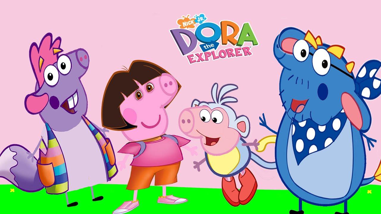 PEPPA PIG Se Disfraza DORA THE EXPLORER Peppa Pig Transforms Into Dora The Explorer Myfun Toys
