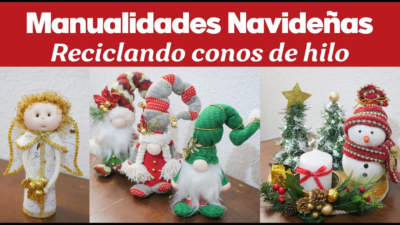 Ideas fáciles navideñas reciclando CONOS DE HILO / Gnomos, Ángel y Centro de Mesa