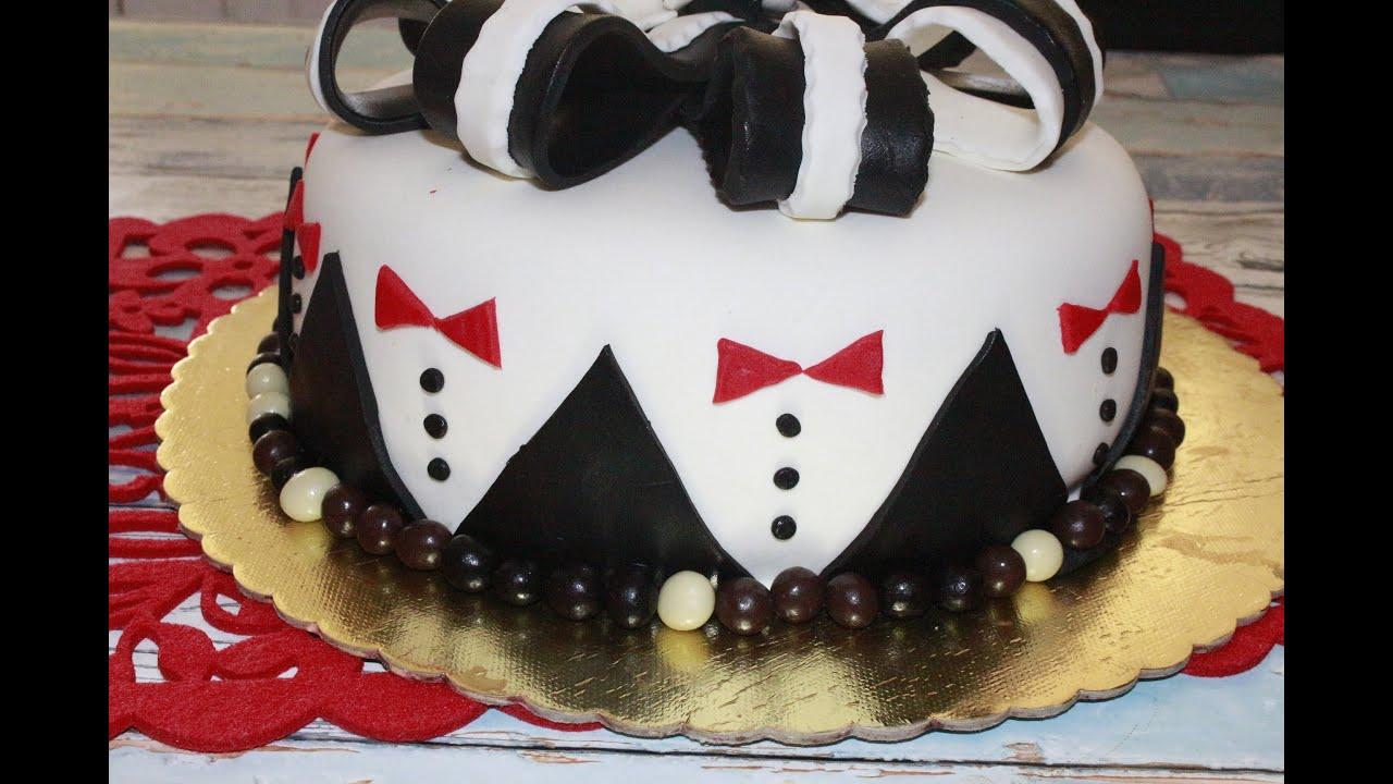 Smokİn Pasta Damat Pastasi Şeker Hamurlu Pastalar Şeffaf