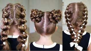 3 EASY BACK TO SCHOOL HAIRSTYLES! 3 COOL HAIRSTYLES TO MAKE!