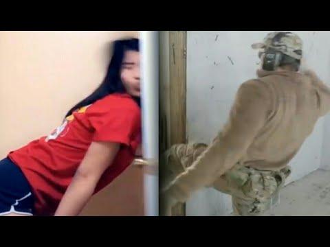 girl gets hit by a door