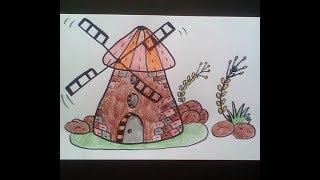 How to draw a mill    -    Как нарисовать мельницу