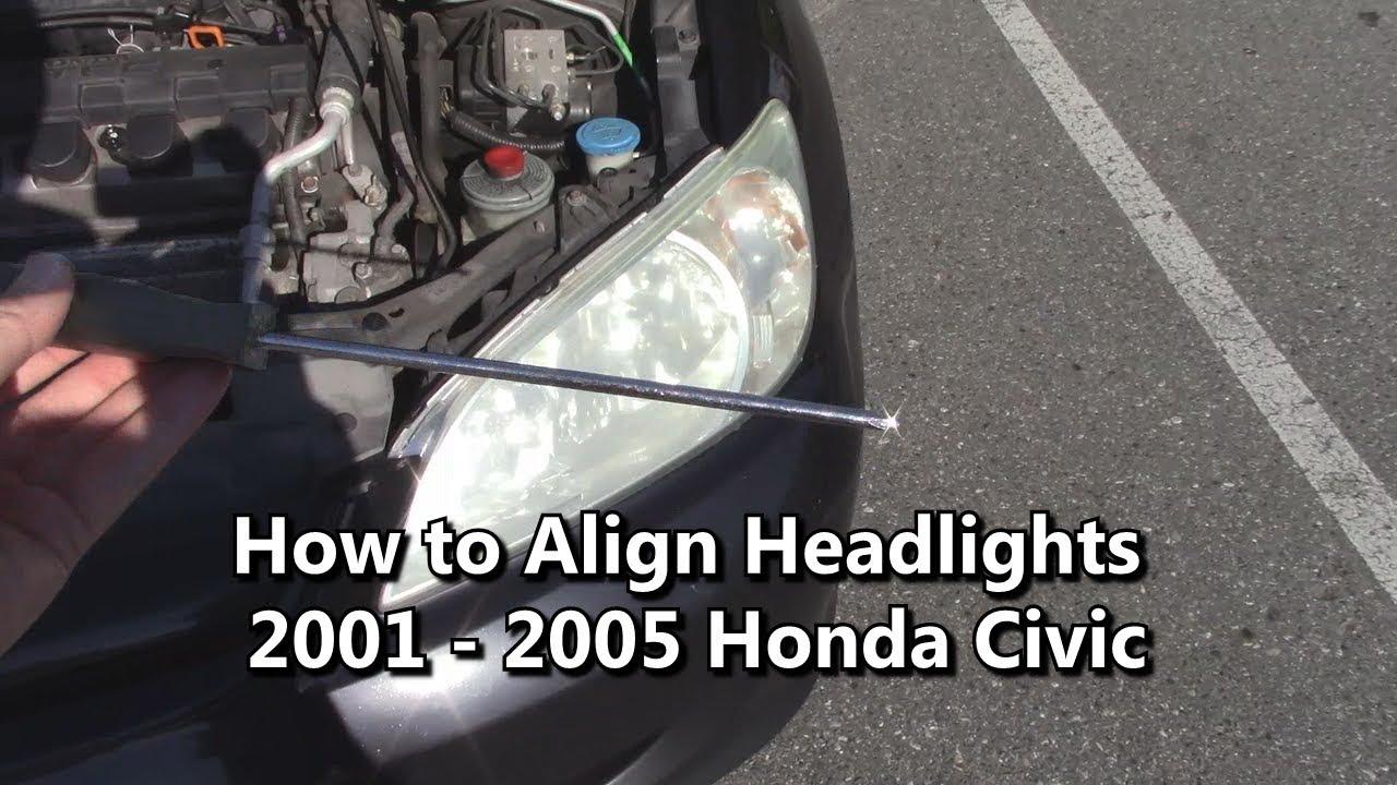 How to Align Headlights 2001 2002 2003 2004 2005 Honda Civic - YouTube