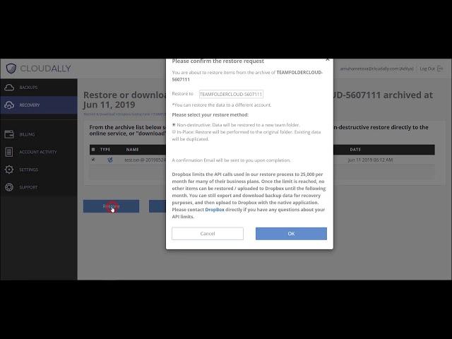 Dropbox Restore Demo Video