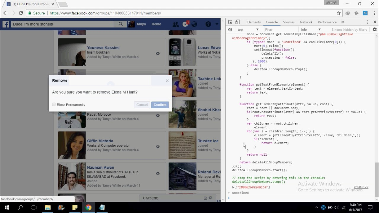 how to delete facebook group members