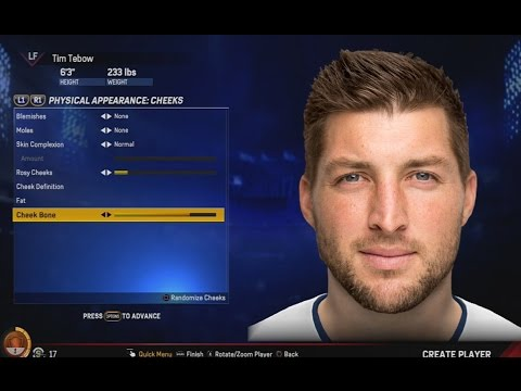 CREATION OF TIM TEBOW IN MLB THE SHOW 17 ROAD TO THE SHOW! (RTTS #1)