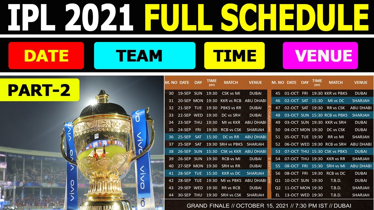 IPL full schedule 2021 part-2.Venue,time,date,players,teams,full schedule.