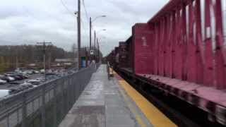 Two trains meet at Tukwila Station, 11-15-2013